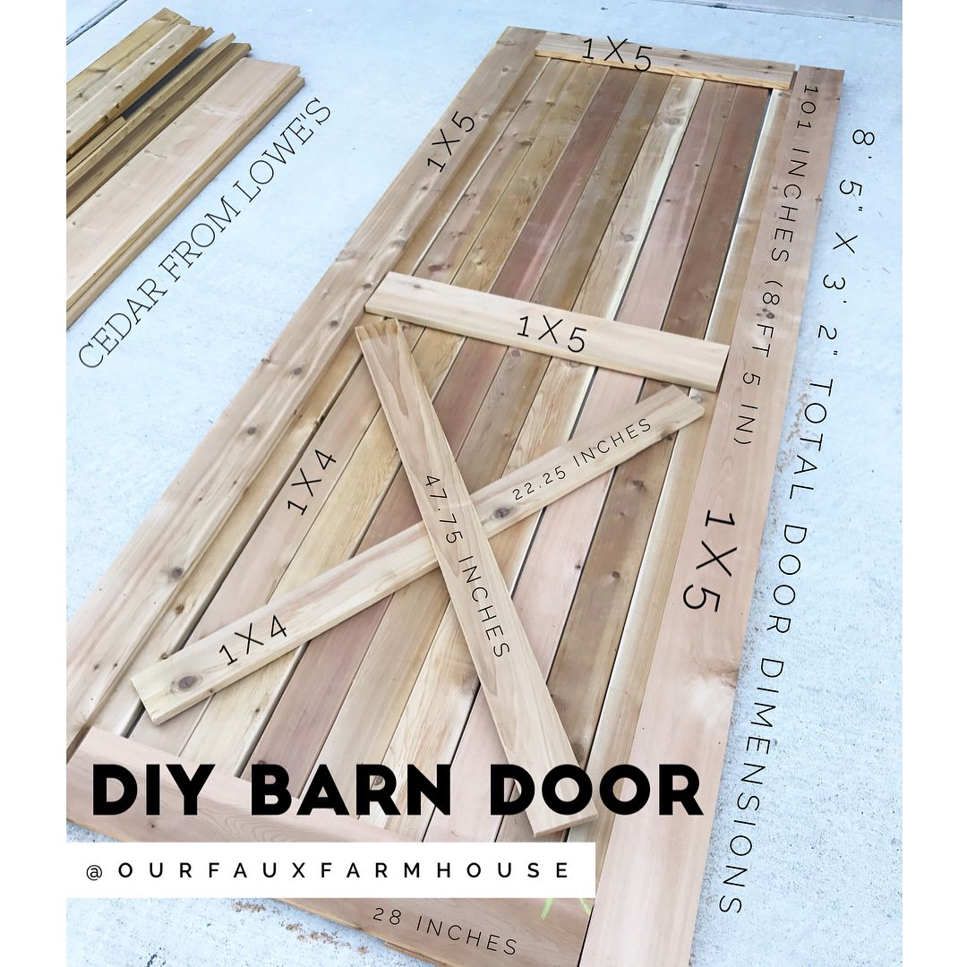 Swipe Our Faux Farmhouse Diy Barn Door Tutorial Materials 1x4 And 1x6 Cedar From Loweshomeimprovement 1 25 1 Diy Door Diy Barn Door Farmhouse Diy