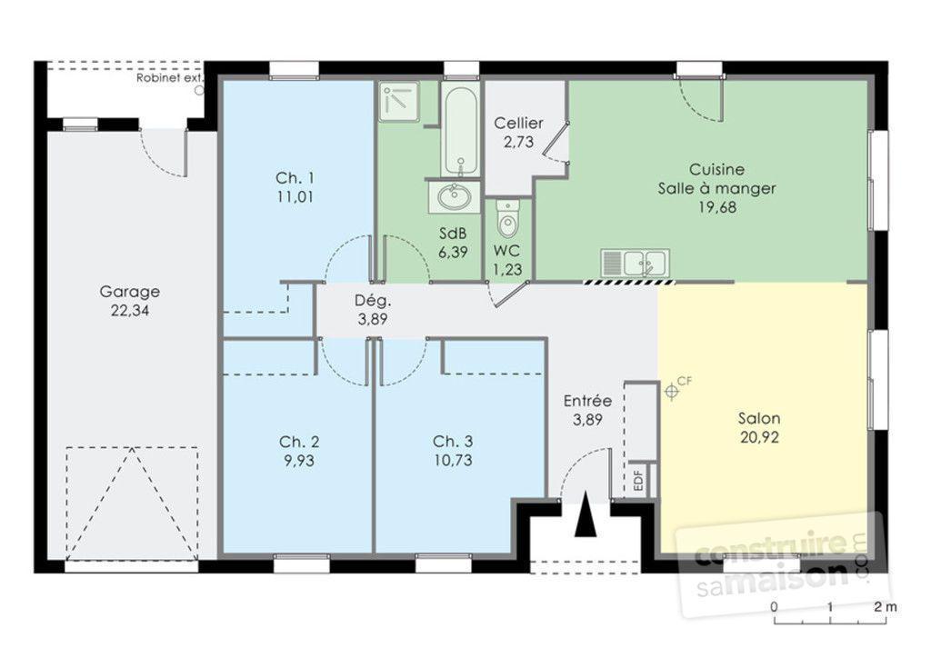 Modèle Eco-Concept  maison moderne à étage de 100m2 avec piscine 2