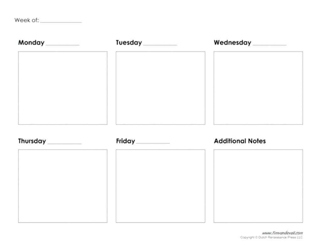 Get Blank Calendar Template 5 Day Printable Calendar Template