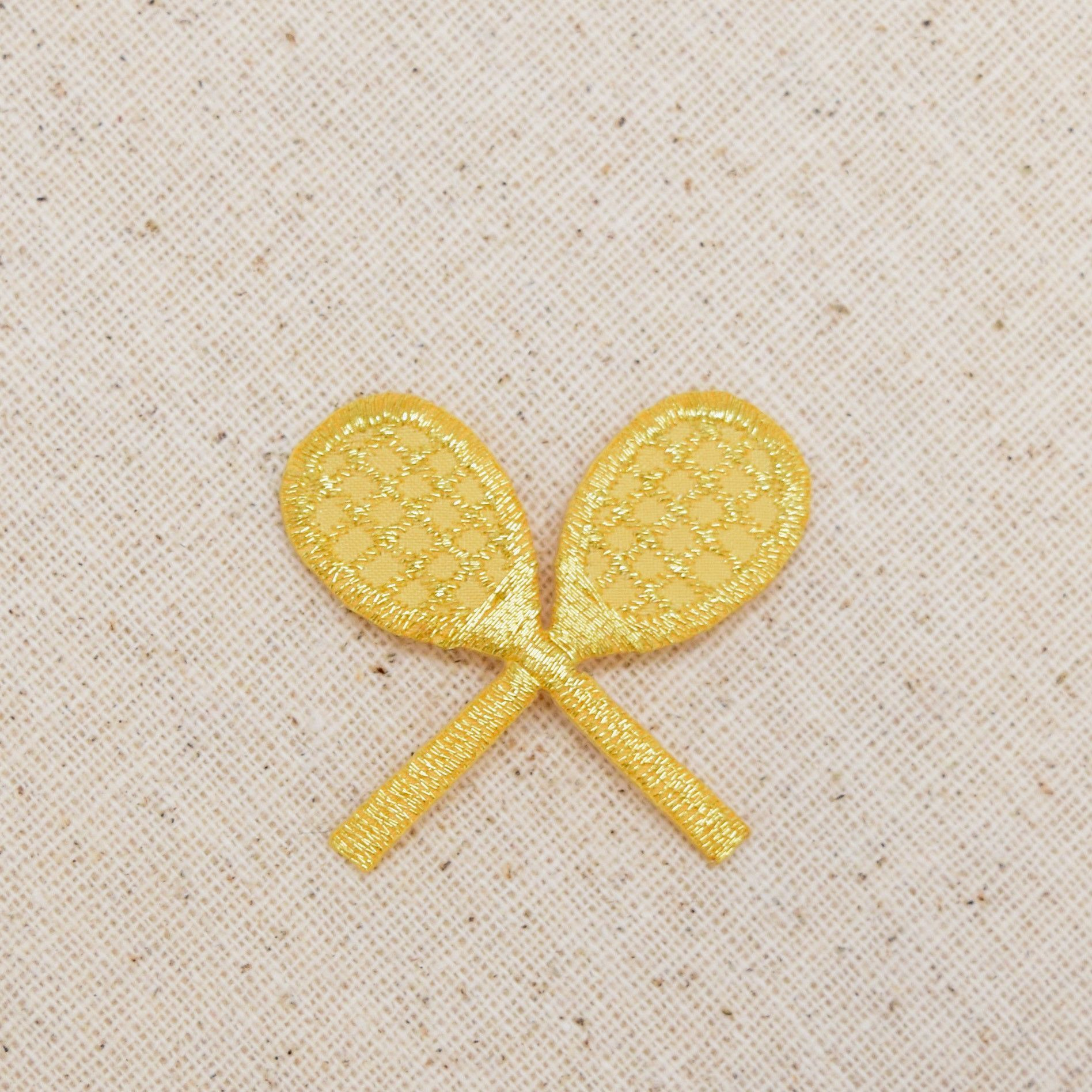 Small - Gold - Crossed Tennis Rackets - Iron on Applique - Embroidered Patch - 210693M