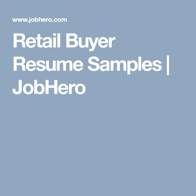 Retail Buyer Resume Samples Jobhero Retail Resume Strategic Leadership