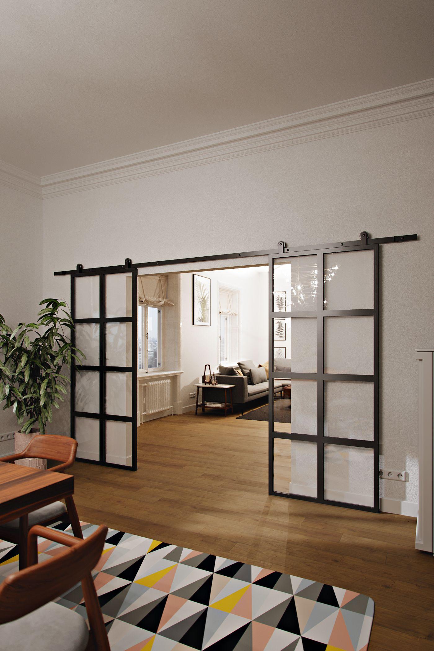 Moderne Schiebeturen Mit Glas Gefullt Schone Offene Kuche Mit Esszimmer Kombiniert Moderne Schiebeturen Offene Wohnung Kleine Wohnzimmerideen