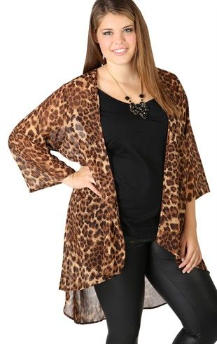 e86da37142 Deb Shops Plus Size Cheetah Print Chiffon Kimono with Three Quarter Sleeves   17.43