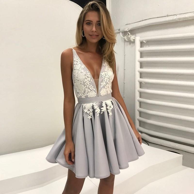 ae4e69ad56 Cute V Neck Lace Grey Silver Cheap Short Homecoming Dresses