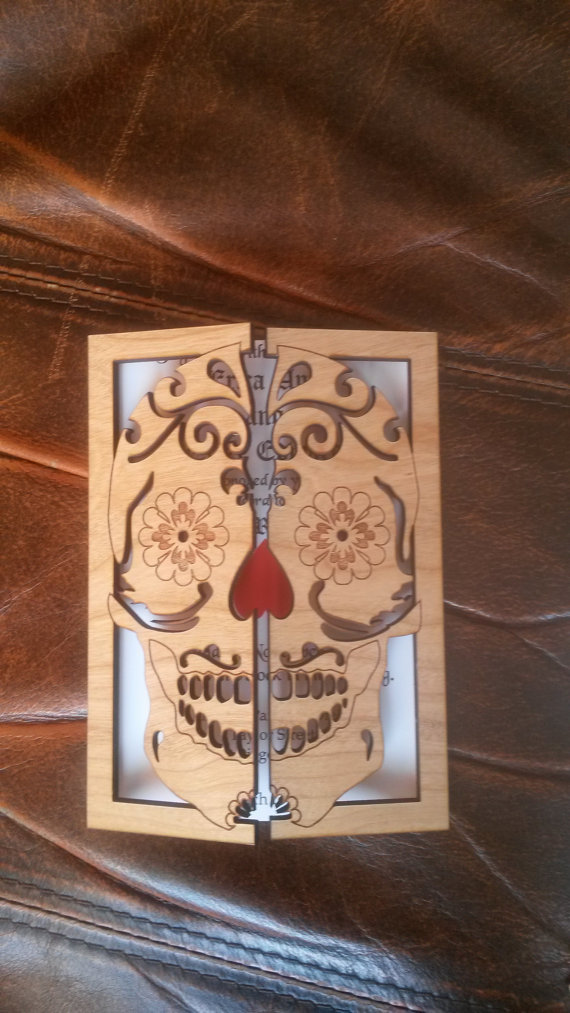 * This listing is for Sugar skull Wedding Invitation *    This wood Wedding Invitations are laser cut and engraved.They are made from Cherry