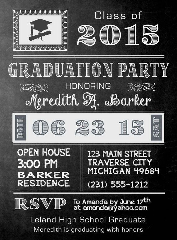 Vintage Chalkboard Graduation Invites, Chalkboard Graduate