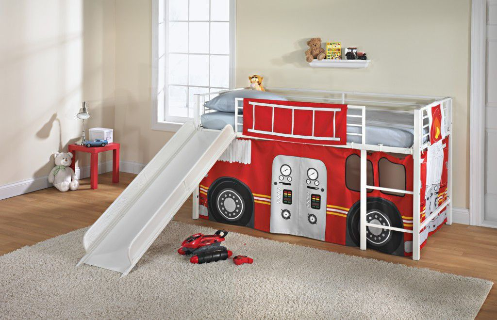 Kids Twin Loft Bed Curtain Fire Truck Engine Red Beds Room