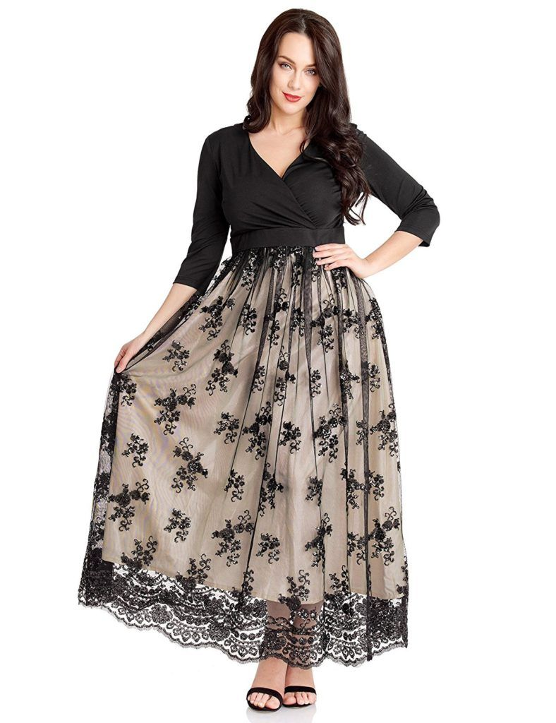 Grapent womenus plus size sequin sleeves evening gown party long
