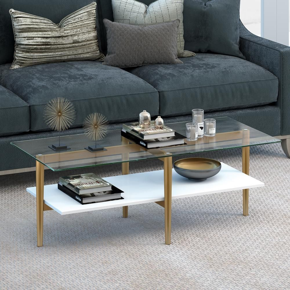 Meyer Cross Otto 47 In Brass White Lacquer Large Rectangle Glass Coffee Table With Shelf Ct0057 The Home Depot Glam Coffee Table Mid Century Coffee Table Coffee Table [ 1000 x 1000 Pixel ]