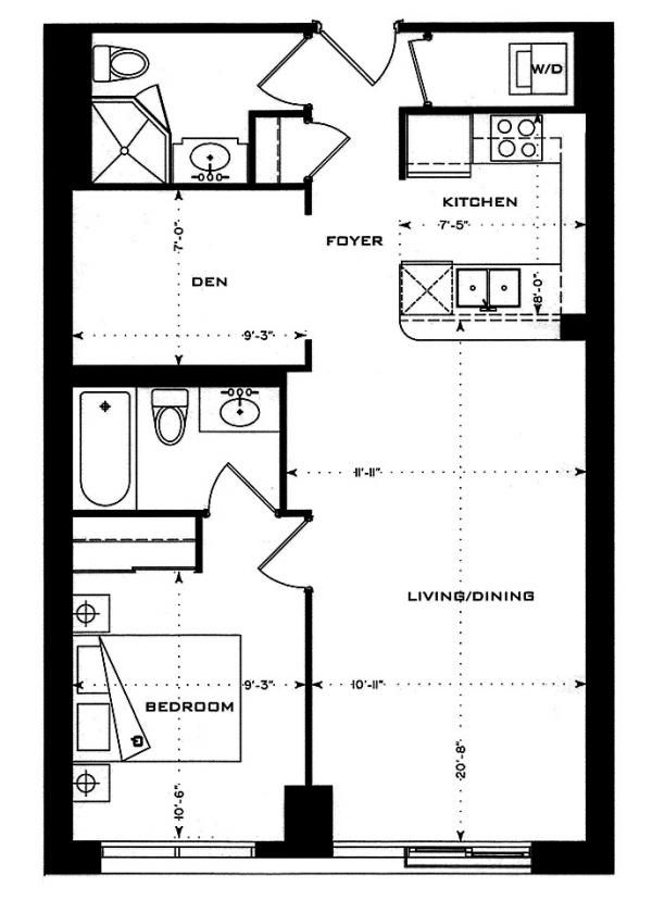 1200 Square Foot One Story Floor Plan See More Floor Plans For 1 Bedroom Units At 1 Bedford Road Floor Plans How To Plan Bedford