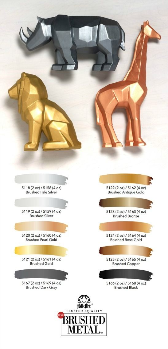 The Perfect Matte Modern Finish Metallic Paint Colors Introducing Folkart Brushed Metal In 10 Sha Gold Painted Furniture Brushed Metal Metallic Paint Colors