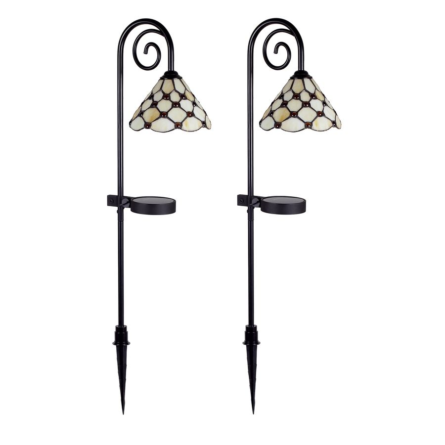 Shop Allen Roth 2 Pack Matte Black Solar Powered Led Path Lights At Lowes Com Backyard Lighting Landscape Lighting Ideas Walkways Outdoor Landscape Lighting