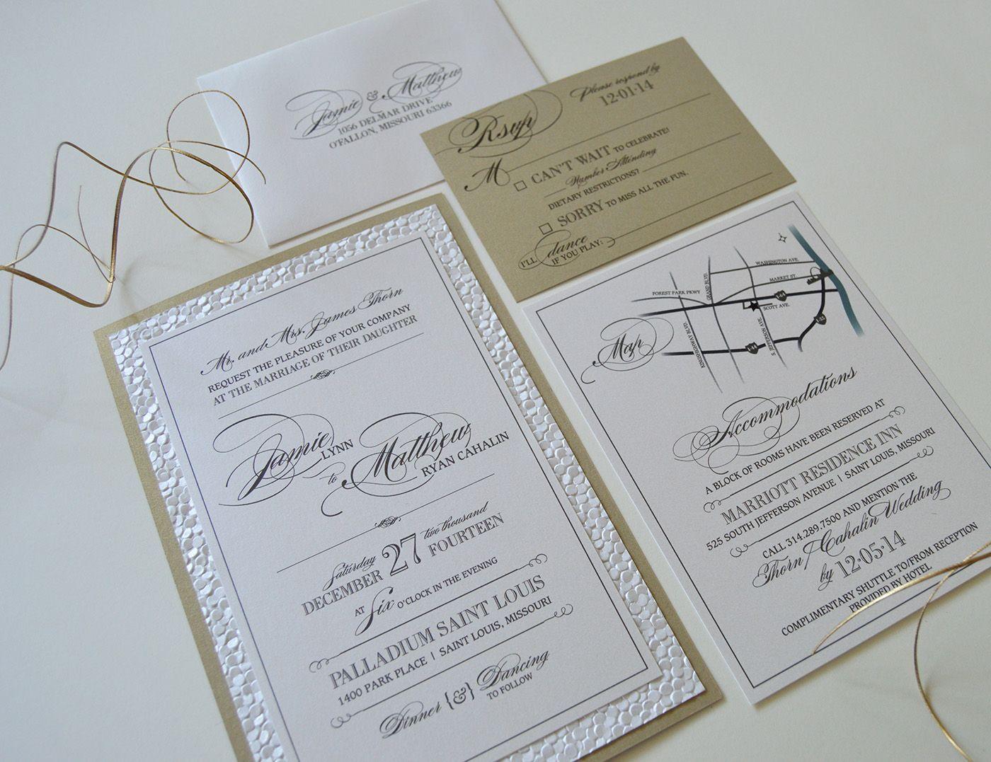Triple Mounted Embossed Wedding Invitation by JE Design Studio   JE ...