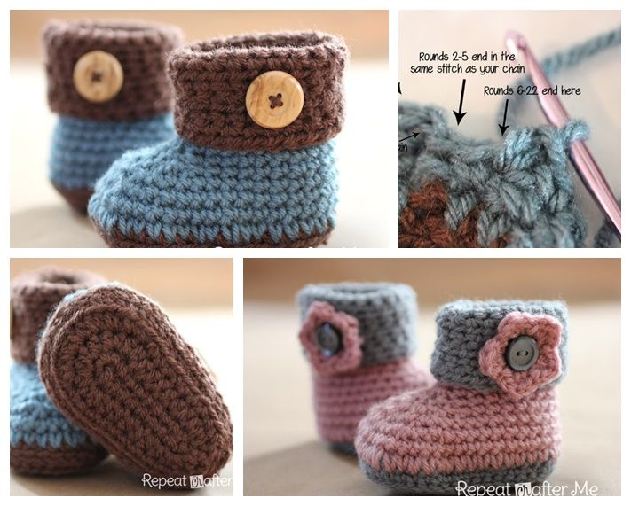 Crochet Cuffed Baby Booties with Free Pattern   Baby booties, Diy ...