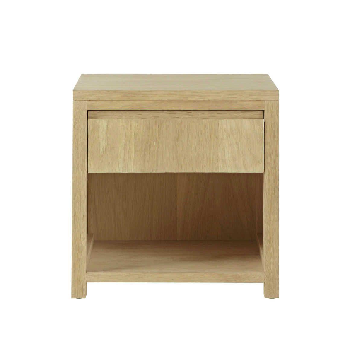 maison du monde ambiance scandinave ou nature table de chevet avec tiroir en ch ne massif l 40. Black Bedroom Furniture Sets. Home Design Ideas