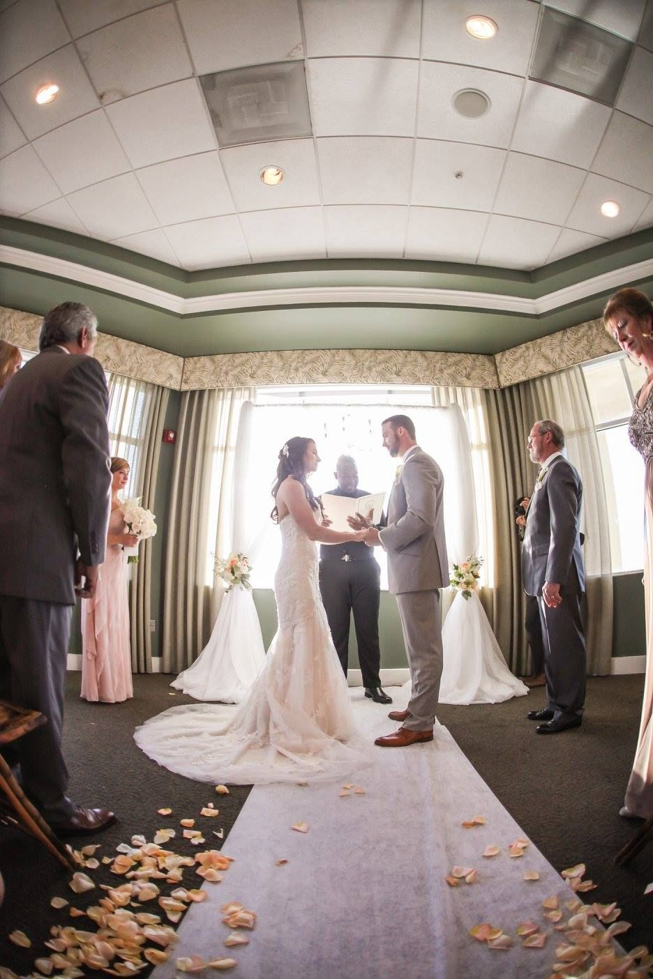 Isla Del Sol Yacht and Country Club, St Petersburg, FL, Ceremony Set Up, Rose Petals, Indoor Ceremony, Bride and Groom, I DO, Iza's Flowers, Inc.
