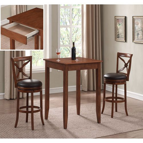 American Woodcrafters Provence 3 Piece Pub Height Table Set Pub