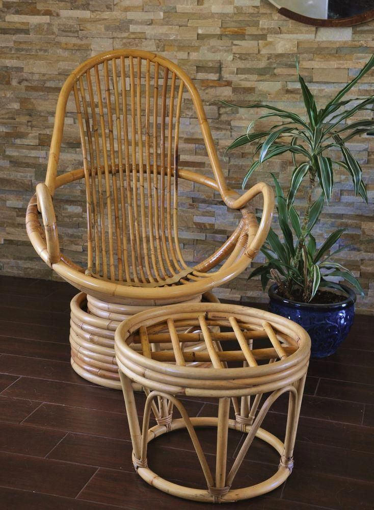 Bamboo rattan swivel chair with ottomanvintage rattan