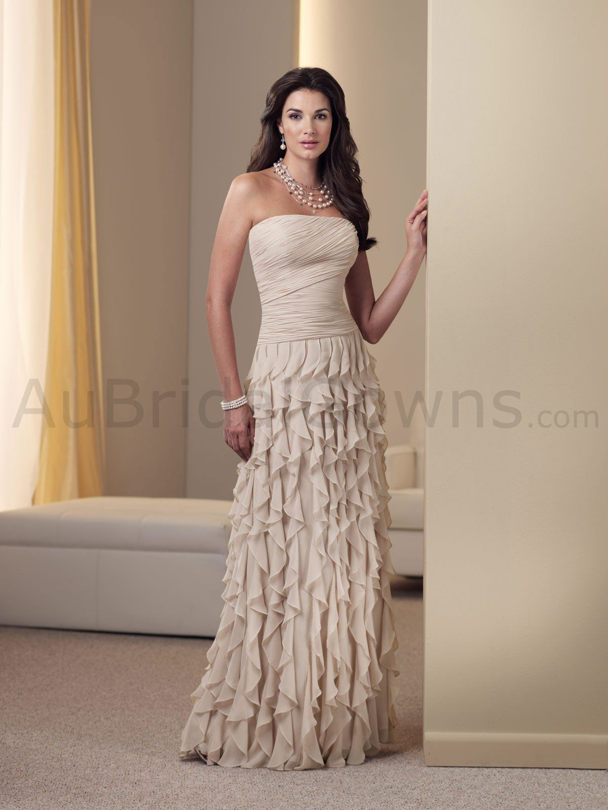 Chiffon Strapless Directionally Ruched Bodice A-line Mother Bride ...