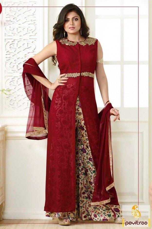 Furiously glamorous maroon color Drashti Dhami designer palazzo ...