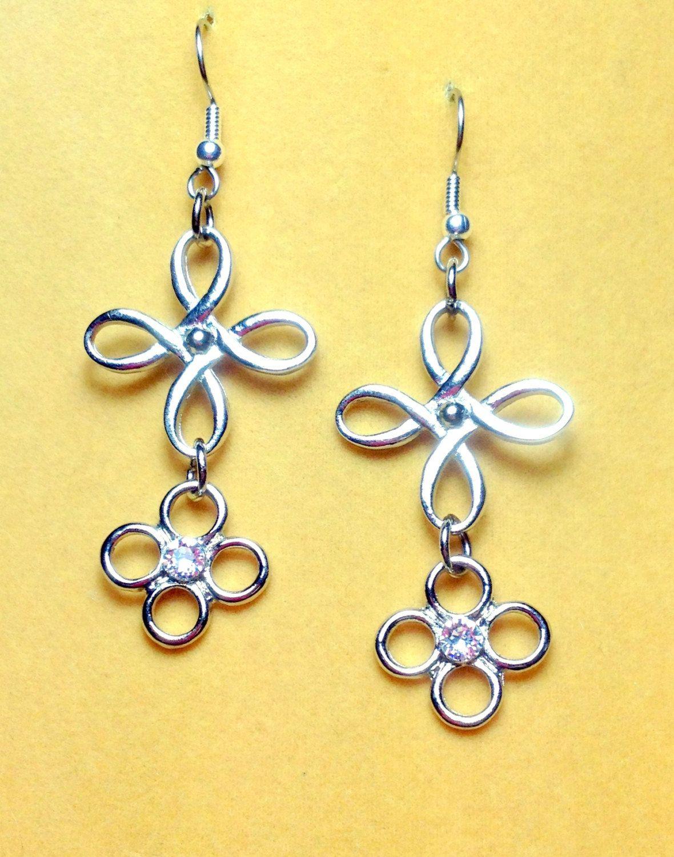 Swarovski  Crystal Earrings  Dangle Cross Earrings