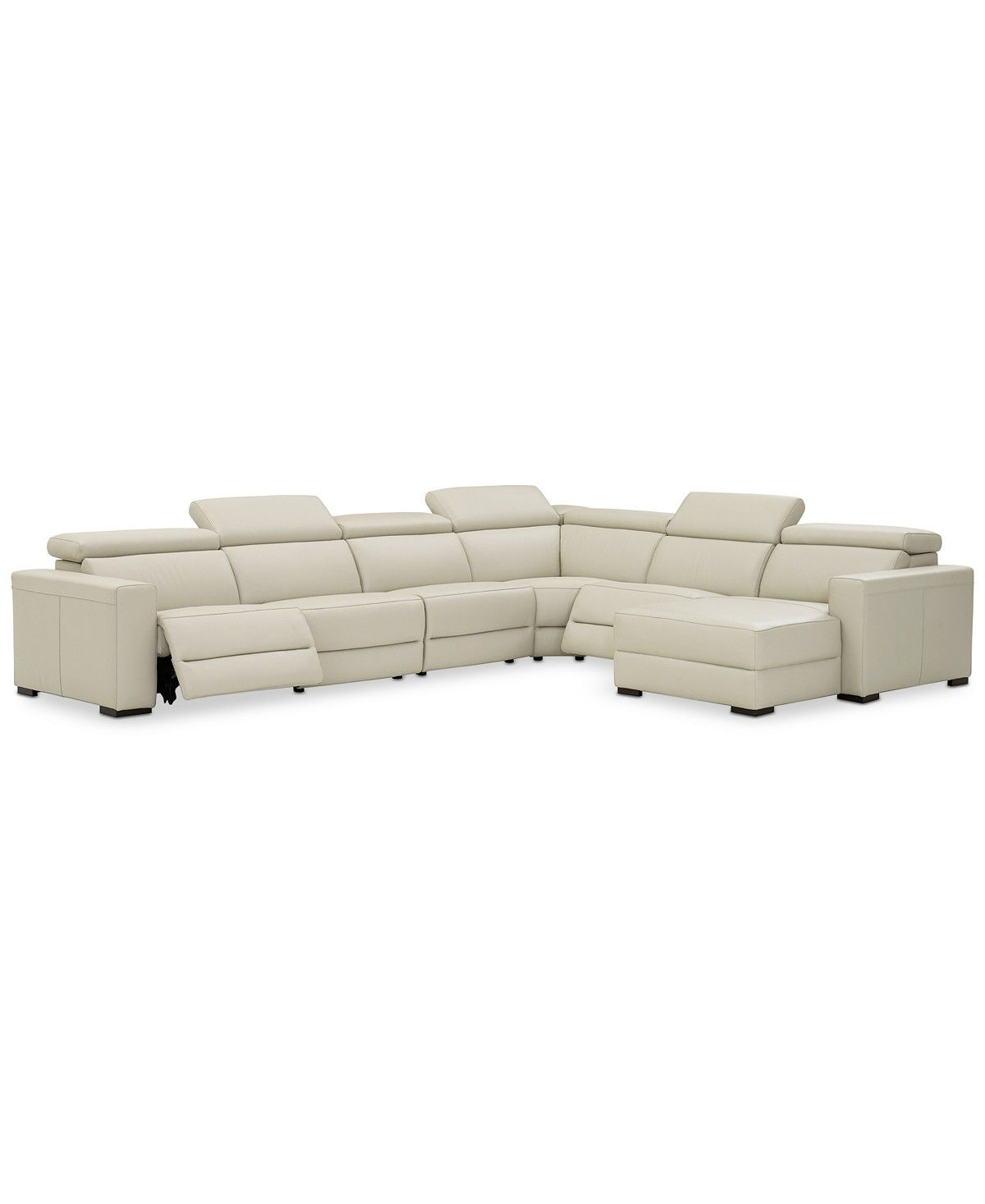 Fine Nevio 6 Pc Leather Sectional Sofa With Chaise 2 Power Ocoug Best Dining Table And Chair Ideas Images Ocougorg