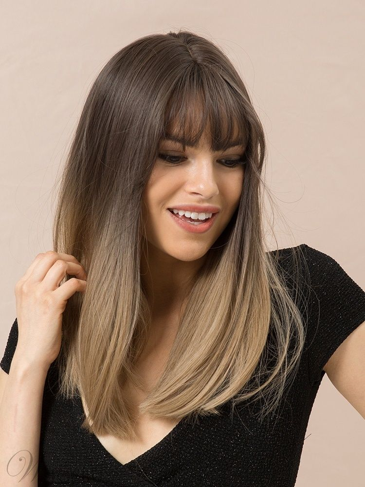 Long Bob Ombre Color Synthetic Hair Straight Wig With