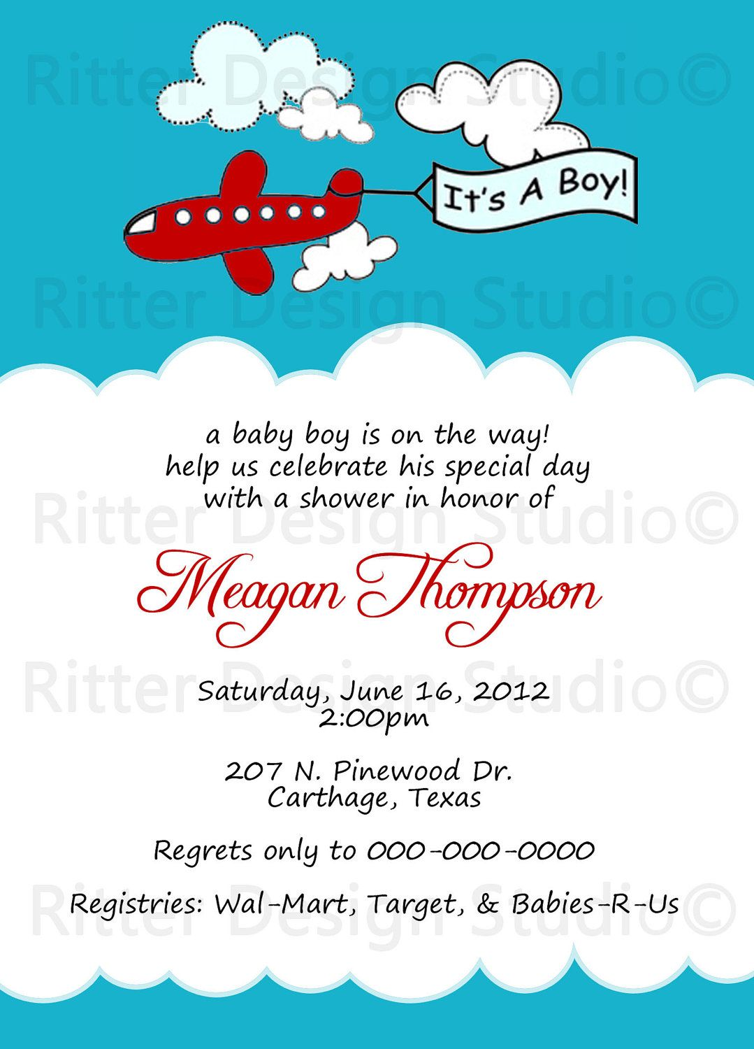 Airplane Baby Shower Invitation - Printable. $15.00, via Etsy ...