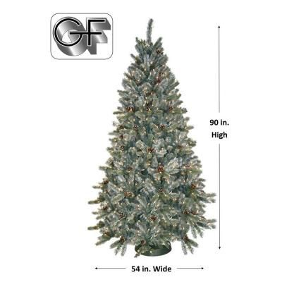 7.5 ft. Pre-Lit Siberian Frosted Pine Artificial Christmas Tree with Clear Lights and Pine Cones-HD-92275C7 - The Home Depot