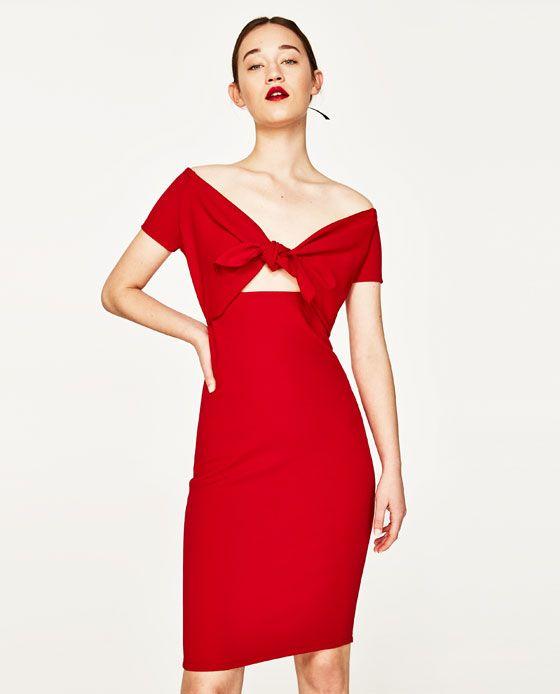Vestido rojo nudo zara