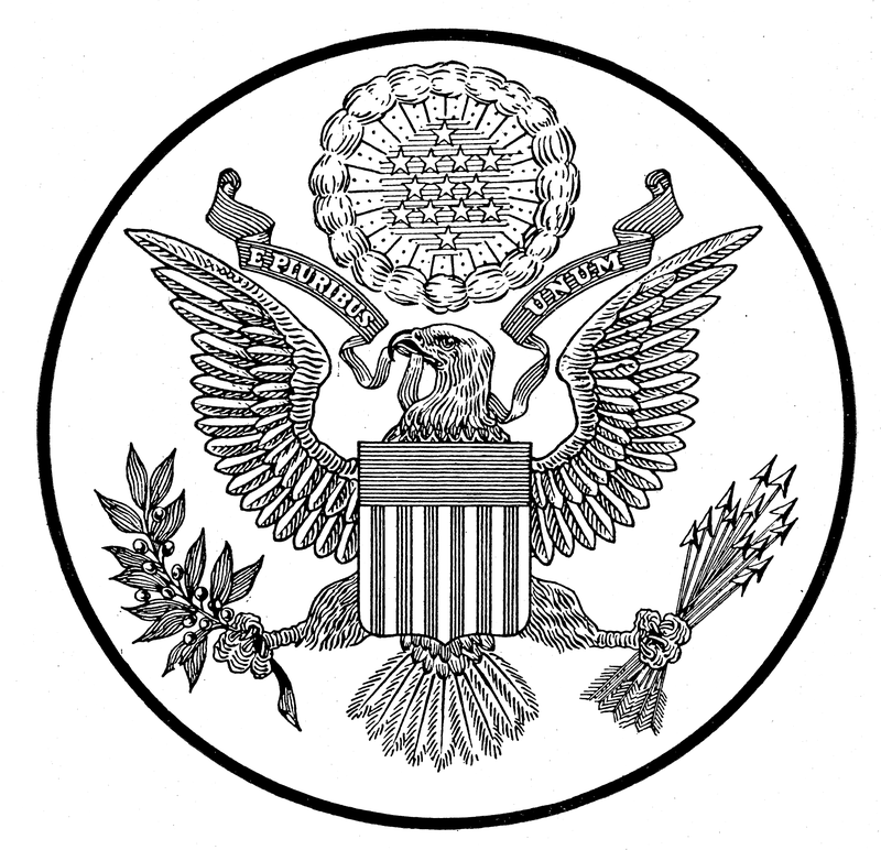 Usgreatseal1904diedrawing Great Seal Of The United States Wikipedia Patriotic Symbols Coloring Book Pages United States Symbols
