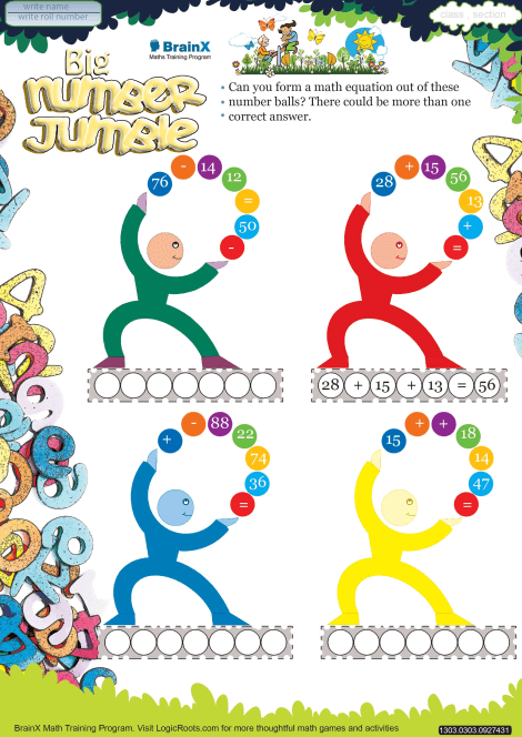 Big Number Jumble Math Worksheet for Grade 3 | Free math worksheets ...
