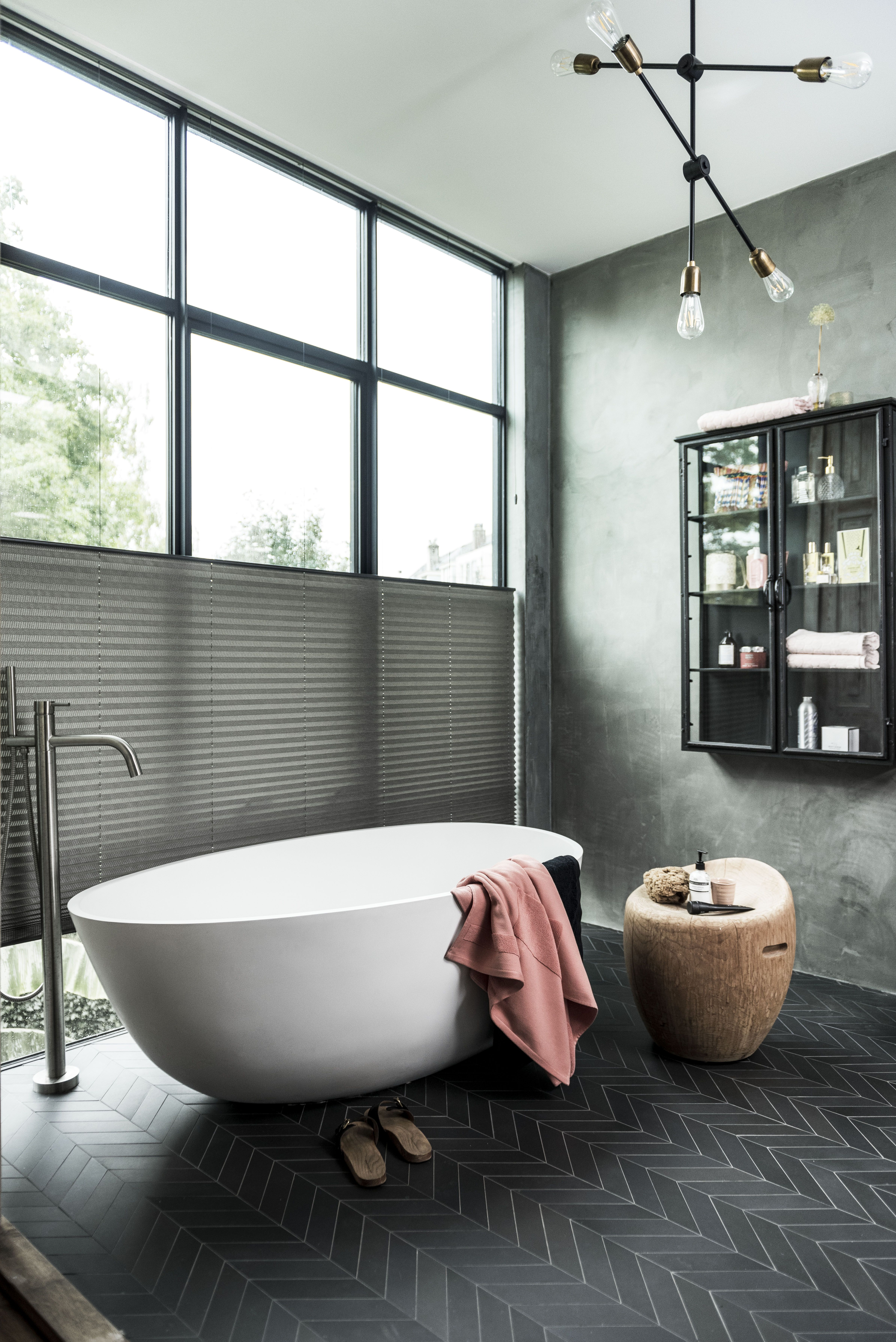 plissgordijn badkamer visgraatmotief inspiratie bece wwwbecenl