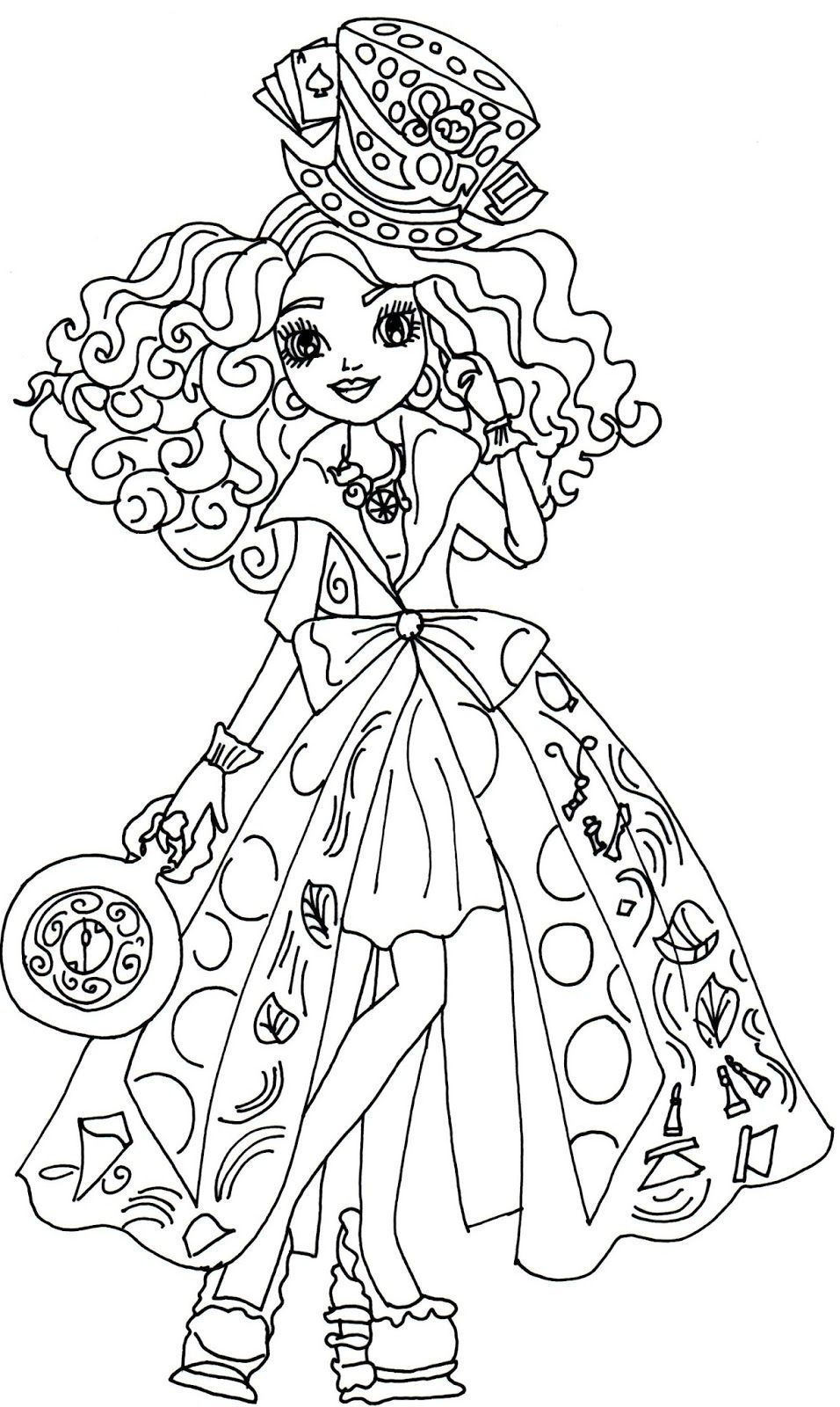 Printable coloring pages ever after high - Free Printable Ever After High Coloring Pages Madeline Hatter Way Too Wonderland Ever After High