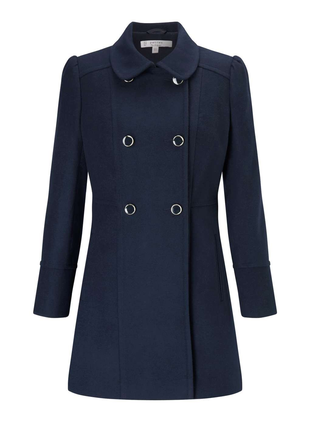 PETITE Navy Pea Coat - View All - Clothing - Miss Selfridge ...
