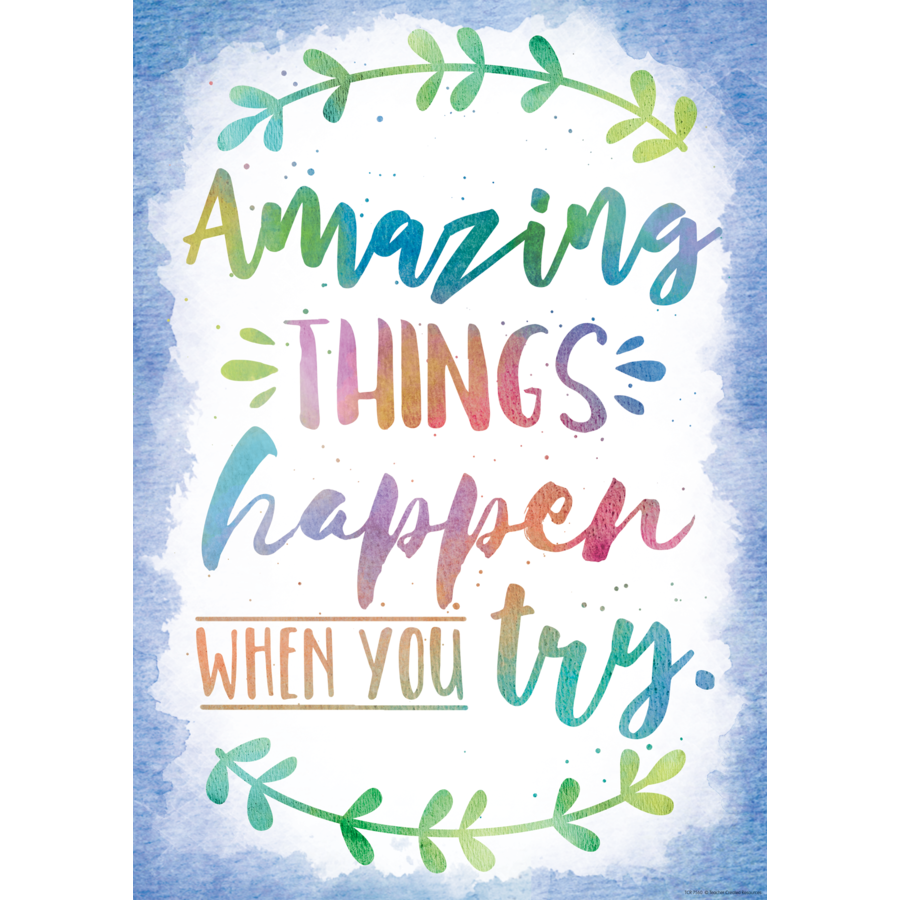 Amazing Things Happen When You Try Positive Poster | Inspirational ...