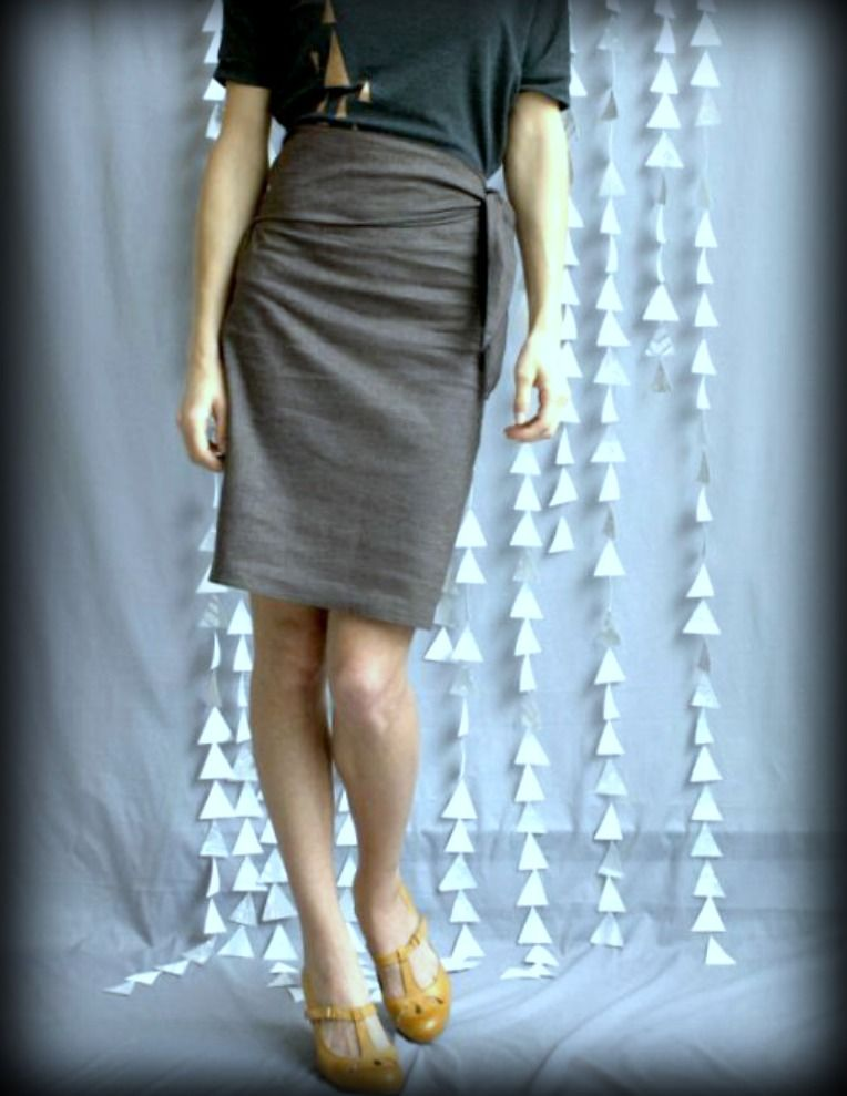 Dark Grey Side Sash Skirt