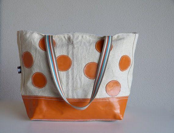 PUMPKIN Orange Leather Tote Bag  Polka Dots Tote  by dawnaparis, €50.00