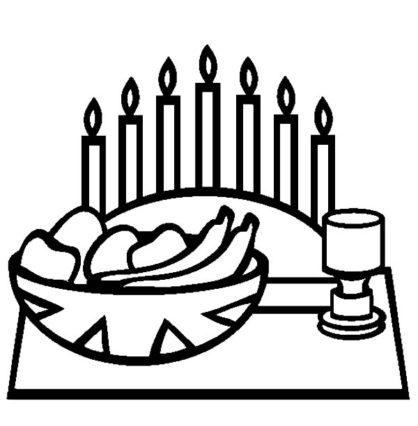 Kwanzaa Day And Kinara Candle Holder Coloring Pages : Kids ...