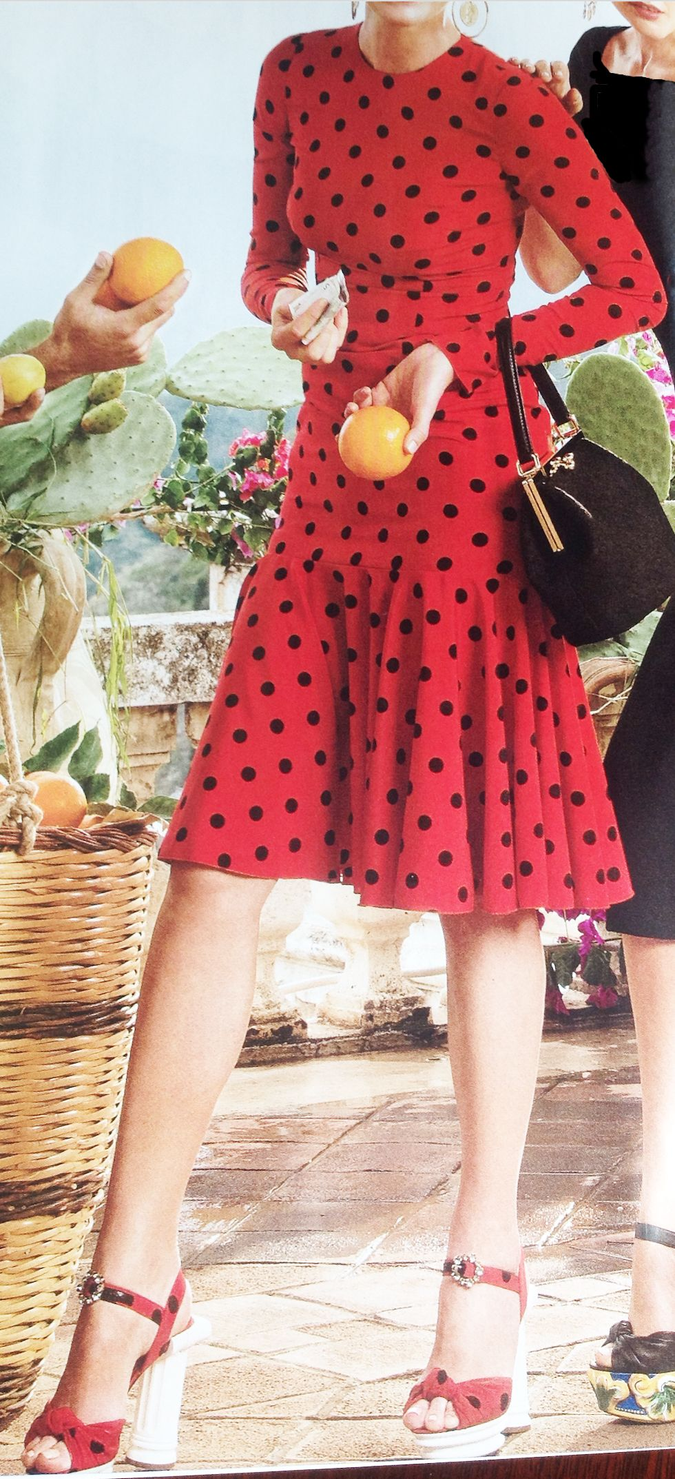 red dress with black polka dots