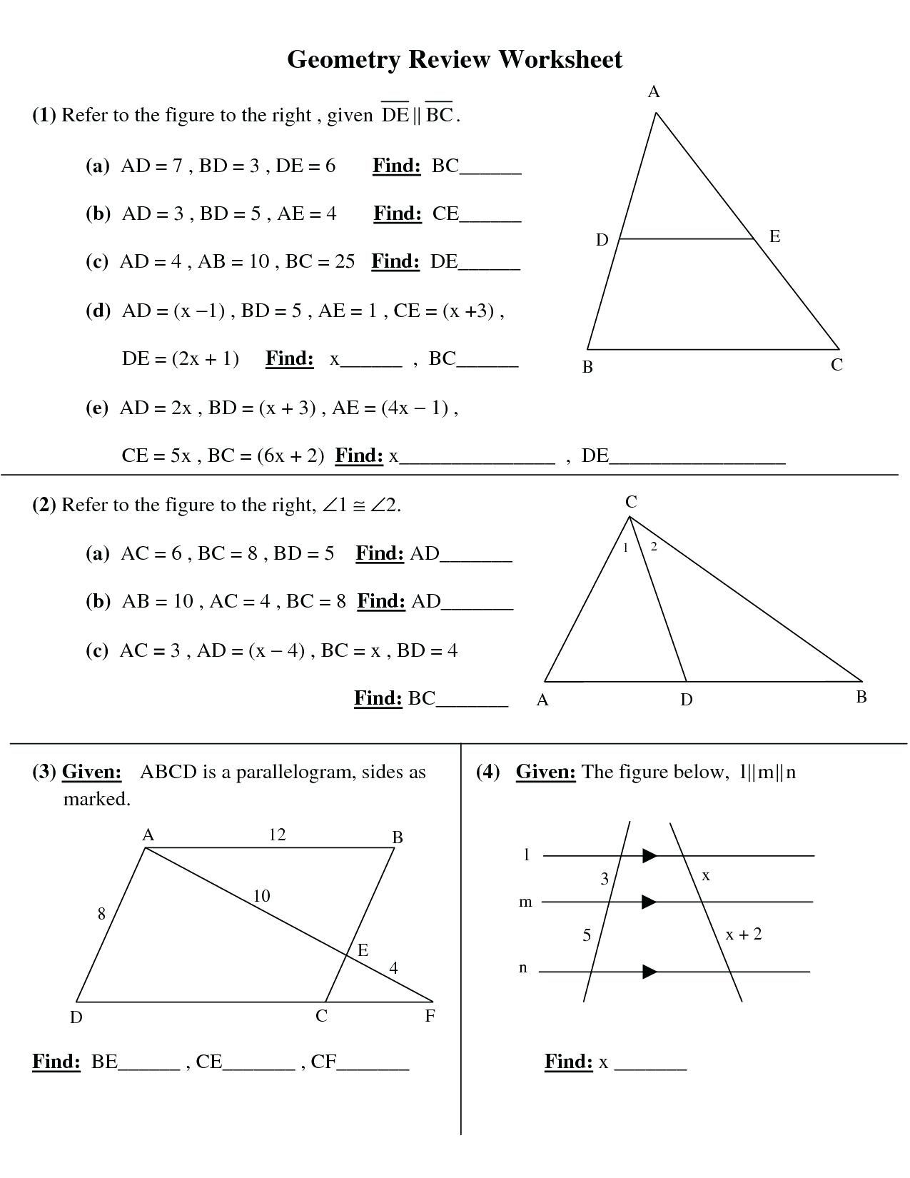 8 Grade Geometry Worksheets   Printable Worksheets and Activities for  Teachers [ 1650 x 1275 Pixel ]