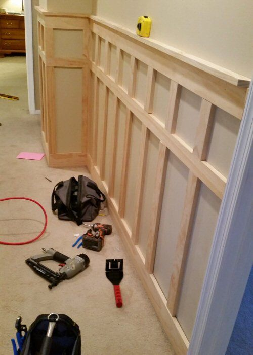 how to install board and batten wainscoting white painted square over rectangle pattern. Black Bedroom Furniture Sets. Home Design Ideas