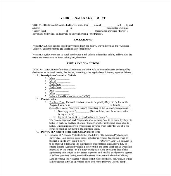 Sales Agreement Template \u2013 10+ Free Word, PDF Document Download
