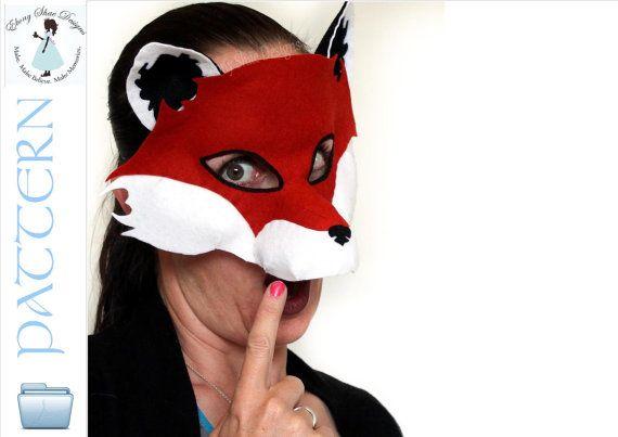 Fox Mask PATTERN. Kids Fox Costume PDF | Fox mask, Fox costume and ...