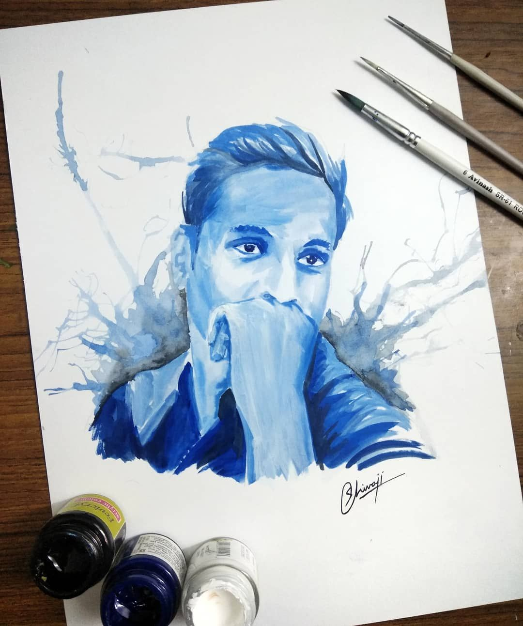 Portrait Of One Of My Friend Who Made My Life Awesome Khan Sahab Portrait Bff Blue Prussianblue Art Drawing Paint Portrait Art Drawings