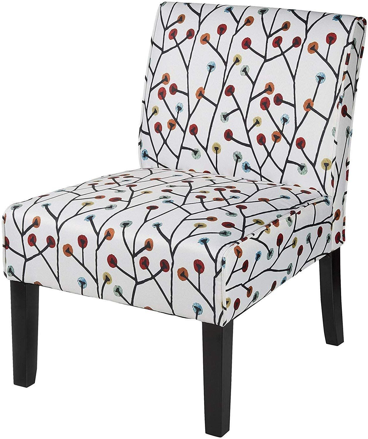 Armless lounge chair white floral design accent chair seat