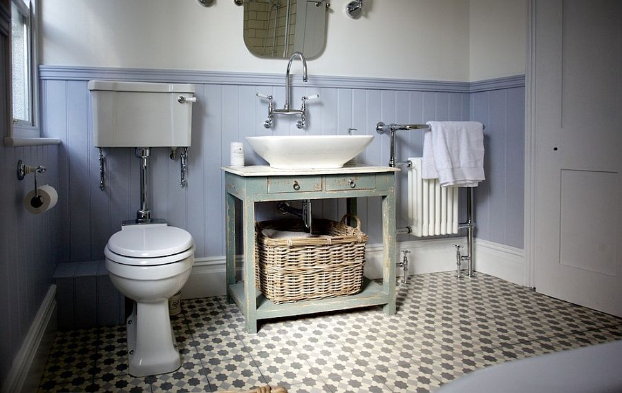 Floor Tiles Add Pattern To The Small Bathroom In Neutral Hues Design Brighton Company