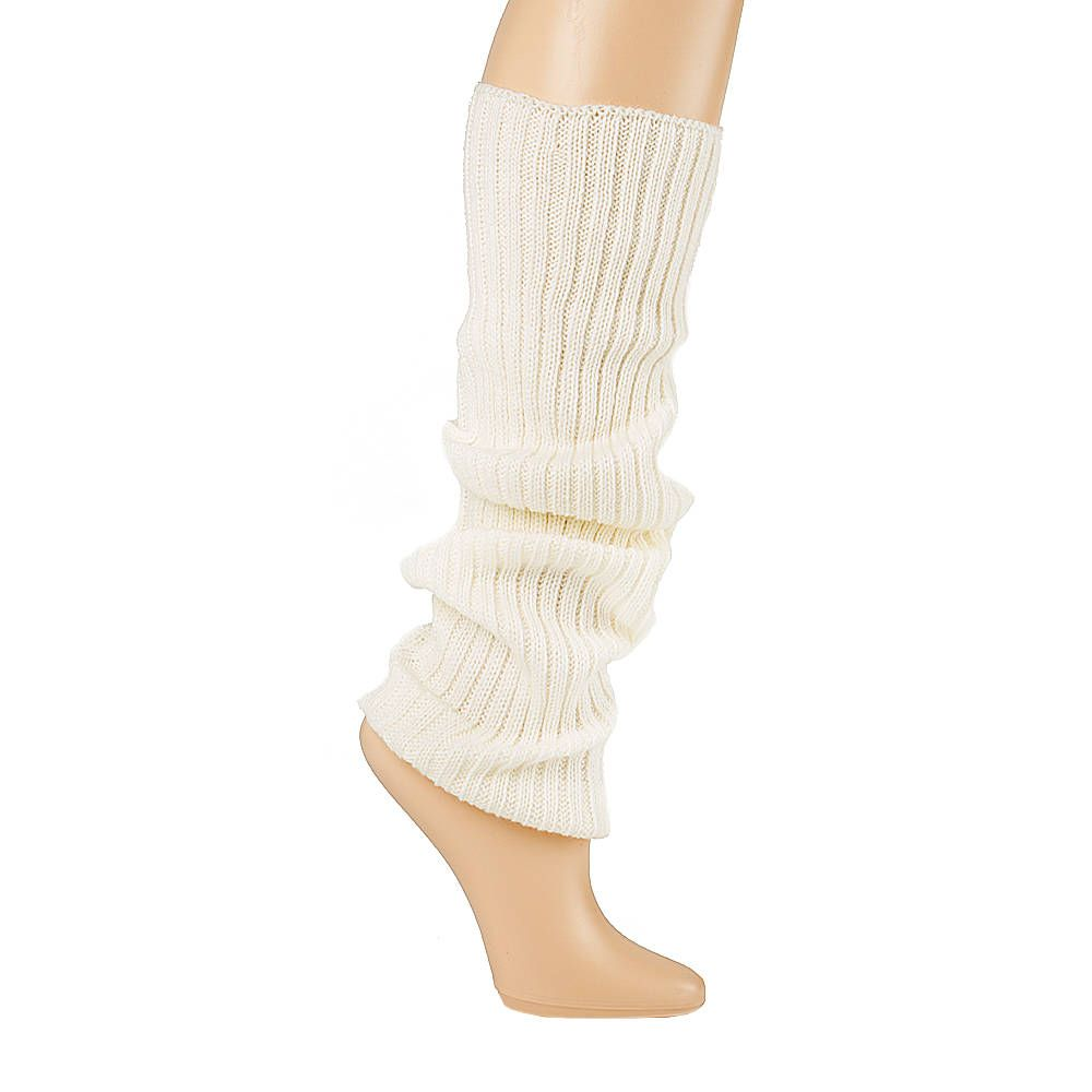 Ivory Ribbed Knit Leg Warmers