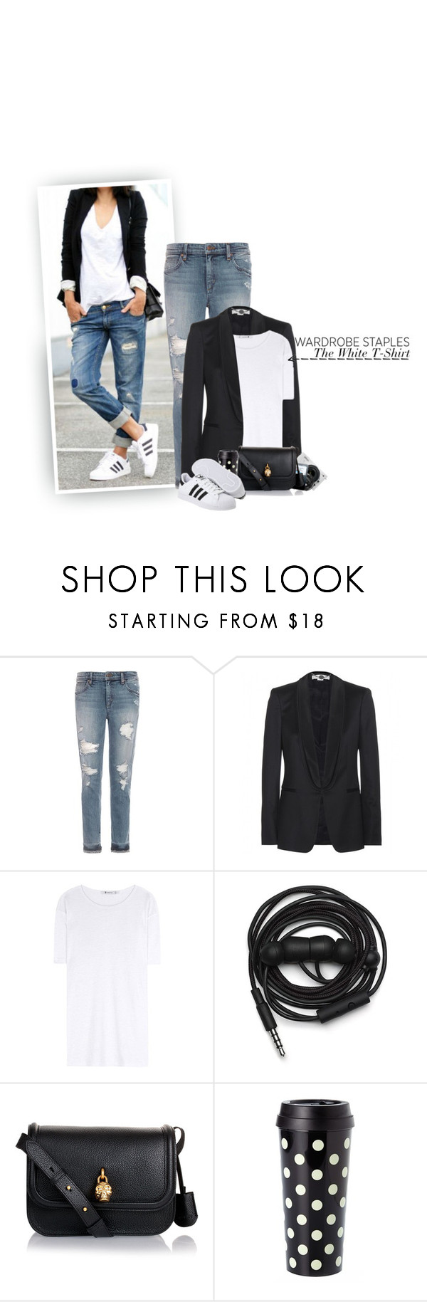 """Wardrobe Staples: The White T-Shirt #2"" by hollowpoint-smile ❤ liked on Polyvore featuring Joe's Jeans, STELLA McCARTNEY, T By Alexander Wang, Nikon, Urbanears, Alexander McQueen, Kate Spade and adidas Originals"