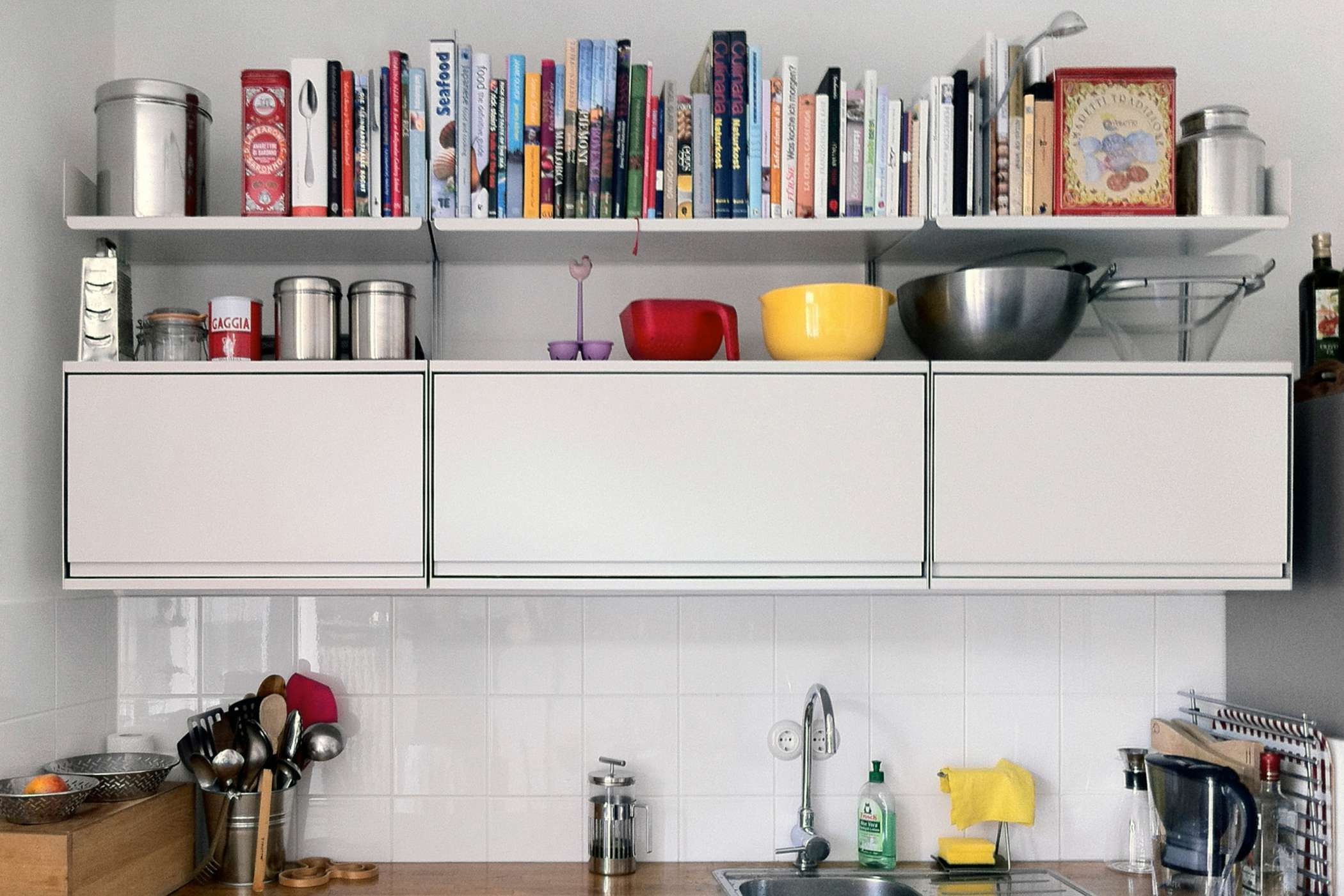Three cabinets and three shelves. What more does your kitchen need ...